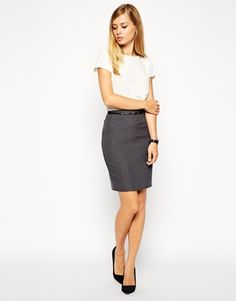 grey pencil skirt   stylish office outfit