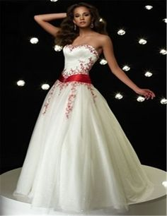 Barato Cor vestidos De Casamento vermelho e branco De cetim Off ombro Vestido De Noiva Vestido De Noiva…