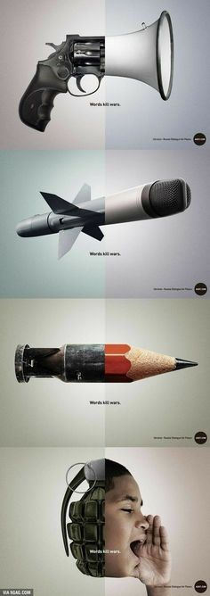 Excellent creative advertising against war. Words kill wars Intetemos talk and not destroy each other because they always innocent fall by the wayside. Creative Advertising, Advertising Design, Ads Creative, Advertising Campaign, Social Advertising, Guerrilla Marketing, Street Marketing, Creative Ideas, Creative Writing