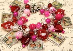 Vintage Valentine Postcards Charm Bracelet Chunky Beaded Altered Art Picture Charms Silver Plated Antique Retro Love Romance Sweethearts. $37.88, via Etsy.