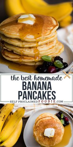 Banana Pancakes made from scratch with mashed ripe banana, walnuts, and buttermilk are what family breakfasts are all about! Need to add extra half cup of flour. Best Breakfast Recipes, Brunch Recipes, Cake Recipes, Pancakes Recipe Video, Homemade Pancakes Fluffy, Courge Spaghetti, Pancakes And Waffles, Pancakes With Banana, Healthy Banana Pancakes
