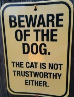 Best Funny signboards in English: Beware of the Dog. The cat is not trustworthy either - Funny signboards in English