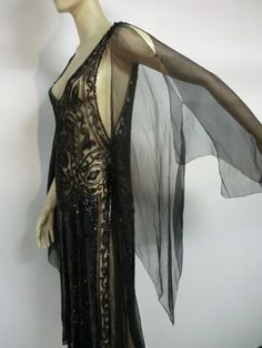 Evening Gowns From the 1920s   Divine French 1920s Silk Chiffon Beaded/Sequined Evening Dress image 6