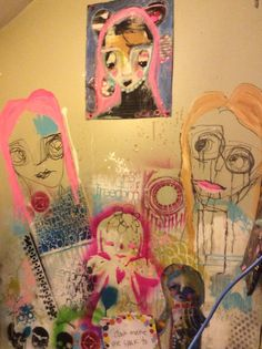 Studio wall Art Journal Pages, Art Journaling, Face Art, Mixed Media, Faces, Artists, Studio, My Love, Happy