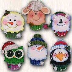 Se encontró en Google desde articulo.mercadolibre.com.mx Christmas Cookies, Christmas Holidays, Christmas Crafts, Christmas Decorations, Xmas, Christmas Ornaments, Tole Decorative Paintings, Tole Painting, Fun Crafts