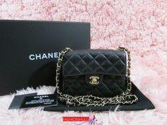 022817ce18ef RARE 2005 Vintage CHANEL Black Caviar Classic Square Mini Flap Bag Gold HW
