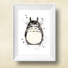 Aquarelle Print Totoro Totoro Poster impression par PrintsForKids