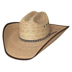 """Official Bullhide Hats """"Wide Open 15X"""" Made of Palm Leaf Straw with 4 1/4"""" brim and 4 3/8"""" Cattleman Crown. Natural. Features a simple brown hat band and comfort sweatband. This hat is dipped in a durable 4 dip lacquer"""