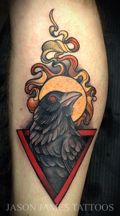 Crow, triangle and sun design by jason James