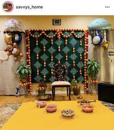Housewarming Decorations, Diy Diwali Decorations, Wedding Stage Decorations, Backdrop Decorations, Festival Decorations, Flower Decorations, Ganpati Decoration At Home, Desi Wedding Decor, Background Decoration
