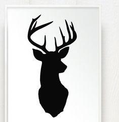 Ähnliche Artikel wie Hirsch Kopf Drucken Silhouette - Color on White Background - Deer Oh Deer - 17 x 20-Zoll-Hirsch Geweih Fine Art auf Etsy