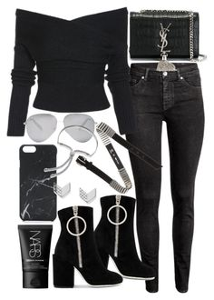 """""""Untitled #20764"""" by florencia95 ❤ liked on Polyvore featuring H&M, Off-White, Yves Saint Laurent, Victoria Beckham, Native Union, FOSSIL, McQ by Alexander McQueen, Monica Vinader and NARS Cosmetics"""