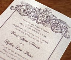 formal letterpress wedding invitation by Ajalon Printing & Design