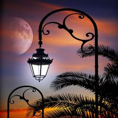 ^= ❤ Moon Silhouette, Italy photo via Людочка Beautiful Moon, Beautiful Places, Moon Silhouette, Art Folder, Moon Pictures, Moon Photography, Good Night Moon, Street Lamp, Belle Photo