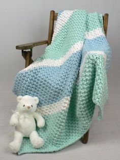 Free Knitting Pattern - Baby Blankets & Afghans: Soften His World Baby Blanket, Easy pattern to follow but requires 8 skeins of yarn of which Michaels Craft stores have limited colour choices, only yellow and white for a boy available however Caron Soft solids has no dyelots which is a plus if want to just buy 1 skein to test out pattern first