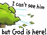 Bible Lesson: I can't see Him, but God is here! Free preschool printables