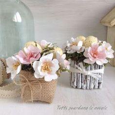 Segnaposto pasquali handmade, vasetti fioriti, fiori di carta handmade. tutorial. Paper, Easter, Pasqua, Diy, Primavera.