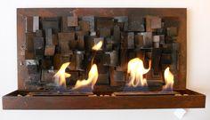 Chimenea cuadro, calienta hasta 40 m, combustible Bio etanol. athosmuebles.com