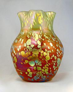 "** Johann Lötz Witwe, Klostermühle, Iridescent Glass Vase. Decor: ""Cytisus"""