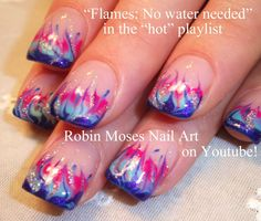 Easy Flame Nail Art - No Water Marble Technique           Fire and Flames Nail art tutorials in the Hot and Cute Playlists!    http://ww...