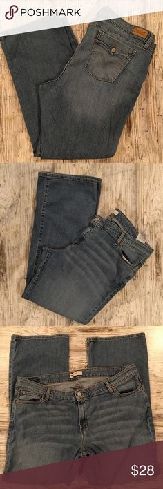 "Plus Size Levis 590 jeans 20W Plus size  Levi's  size 20w  590 boot-cut Jean Cute pocket flatters the booty 99% cotton 1% elastane Approximate measurements as follows Waist 21"" rise 10.5"" inseam 31.5"" Levi's Jeans Boot Cut"