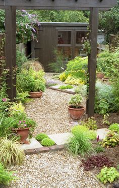 Great design for low maintenance small garden. Diagonal planting and flagstones give the illusion of extra width whilst gravel provides a pathway and adds to the oriental flavour.