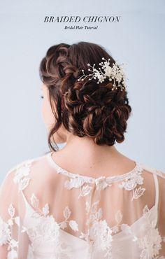 Romantic braided chignon hair tutorial