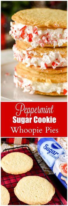 Peppermint Sugar Cookie Whoopie Pies @pillsbury #ItsBakingSeason #ad