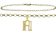 Diamond Initial H Yellow Gold Charm Anklet -- See this great product. (This is an affiliate link and I receive a commission for the sales)