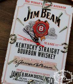 Who likes bourbon?:D Jim Beam,handmade,metal wall clock!