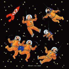 On a marche sur la lune et Objectif Lune  Version de Yves Rodier #tintin #snowy #captainhaddock #professorcalculus #yvesrodier