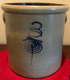 Blue cobalt 3 gallon Crock by MiloMiloLLC on Etsy Antique Crocks, Old Crocks, Antique Stoneware, Stoneware Crocks, Primitive Antiques, Primitive Crafts, Primitive Christmas, Primitive Snowmen, Country Christmas
