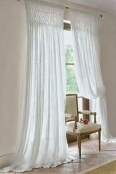 FRENCH COUNTRY COTTAGE: Inspirations~ window coverings.  Love this smocking