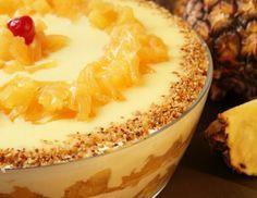 Aprenda a preparar pavê de abacaxi com biscoito maizena com esta excelente e fácil receita.  O pavê de abacaxi é uma sobremesa deliciosa que não deixa ninguém...