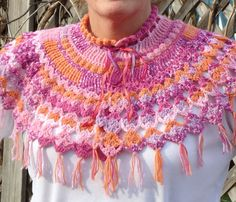 Crocheted Capelet Shawl by TwistedFiberDesigns