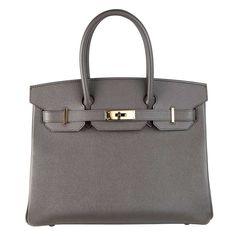Etain Birkin Grey 30cm Hermes Epsom Leather Bag Gold Ghw