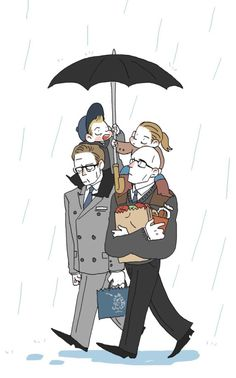 Kingsman family - Papa Merlin, Mama Harry, Baby Eggsy and Roxy  By an awesome person here in twitter 'vkekekfr' ( https://twitter.com/vkekekfr )