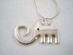 Elephant Fork Pendant Silverware Jewelry by MonPetitChouBoutique, $16.00