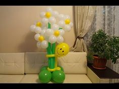 Cheerful daisy flower of balloons (Subtitles) Balloon Centerpieces, Balloon Decorations Party, Diy Wedding Decorations, Flower Decorations, Balloon Flowers, Rainbow Flowers, Balloon Bouquet, Balloon Columns, Balloon Arch