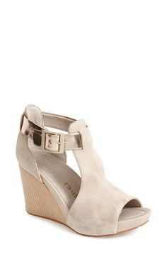 Tsubo 'Nancie' Peep Toe Wedge Suede Sandal (Women) at Nordstrom.com. A woodgrain wedge, buttery suede upper and shimmery, metallic buckled strap provide textural interest to this sophisticated platform sandal styled with a leg-lengthening open toe.