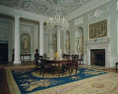 Dining room from Lansdowne House, London, 18th century (1765–68). Lansdowne House, designed by Robert Adam and situated at the southwest corner of Berkeley Square, was begun for Prime Minister John Stuart, third earl of Bute, who sold it, unfinished, about 1765 to William Petty-Fitzmaurice (1737–1805), earl of Shelburne, later first marquess of Lansdowne. The house was completed from Adam's designs for Lord Shelburne in 1768