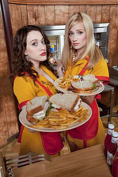 Max (Kat Dennings) and Caroline (Beth Behrs) from '2 Broke Girls' - just hilarious and f-ing awesome