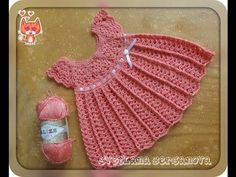 Детское платье крючком с круглой кокеткой. Crochet baby dress - YouTube