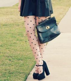 heart tights with cute mary-janes.
