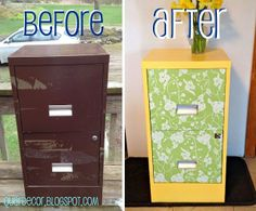 "Fancy File Cabinet – ""I took out the drawers and spray painted the exterior shell. While that dried I stuck the adhesive paper on the front of the shelves and cut out the spots for the handles."""