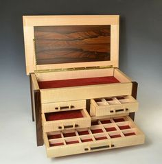 Tiger Maple And Zircote Jewelry Box