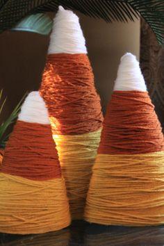 styrofoam and yarn candy corn decor