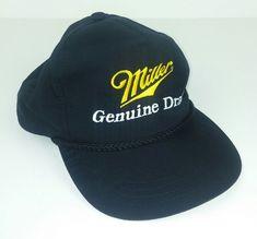 384c2472dd3 Miller Genuine Draft Hat Cap Black Snapback Adjustable Rope Beer Trucker  Yupoong  Yupoong  Trucker