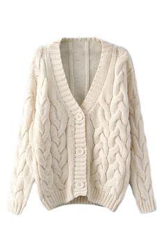 ROMWE | V-neck Sheer Cream Cardigan, The Latest Street Fashion