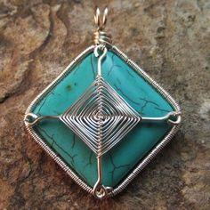 Wire Wrapped Turquoise Howlite Pendant  by Spiral Leaf Jewelry